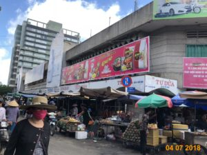 Advertising brand Koreno area Xom Chieu market